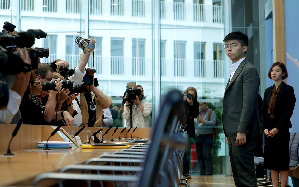 Hongkoński aktywista Joshua Wong podczas konferencji prasowej w Berlinie, 11 września 2019 r.