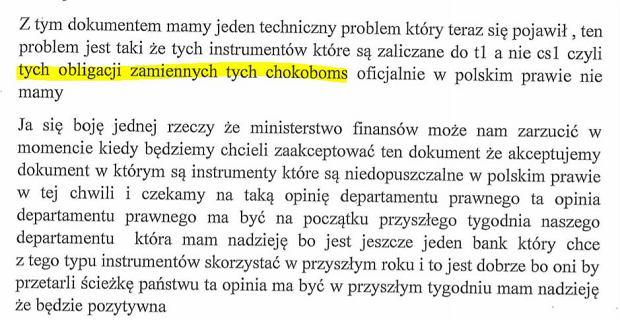 fragment stenogramu rozmowy Leszka Czarneckiego z Markiem Chrzanowskim (za: wyborcza.pl)