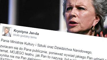 Krystyna Janda ostro odpowiada ministrowi Glińskiemu