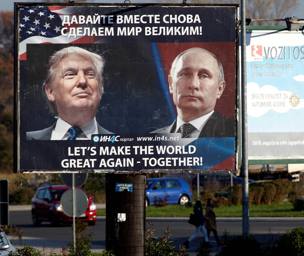 Bilbord z Putinem i Trumpem w Danilovgradzie w Czarnogórze