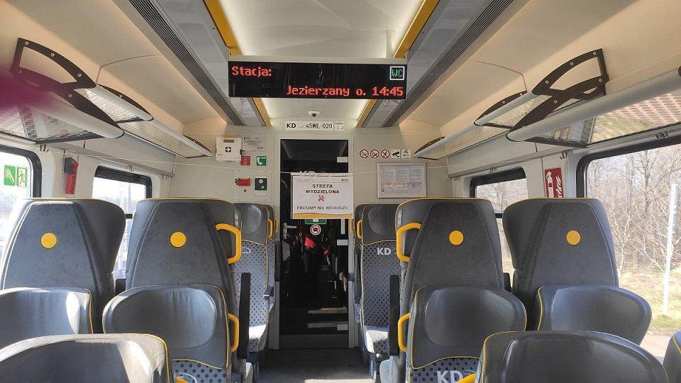 Marzec 2020 - wydzielona strefa w pociągu Kolei Dolnośląskich
