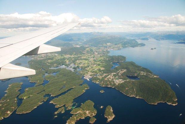 Norweskie fiordy widziane z samolotu