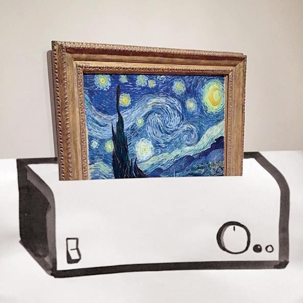 Obraz Van Gocha<br/>Skopiowanie dzieł artysty z naukową precyzją stało się możliwe dzięki współpracy Muzeum Van Gogha w Amsterdamie z firmą Fujifilm oraz dzięki nowej technologii reliephography 3D. W maju w Mediolanie muzeum wraz z firmą ogłosiły, że tworzą centrum Weprint!. Będą w nim powstawać dzieła malarza o wysokiej rozdzielczości, które mają być wierną kopią oryginałów. Turyści już wkrótce będą mogli wyjść z muzeum z kopią obrazu Van Gogha. Jego prace nie pierwszy raz trafiły do drukarki 3D. Dwa lata temu Tim Zaman, naukowiec z politechniki w Delft w Holandii, przy użyciu specjalnego skanera i drukarki 3D stworzył kopię obrazów m.in. Van Gogha i Rembrandta. Zachował przy tym fakturę, kolor i wypukłość farby naniesionej na obrazy.