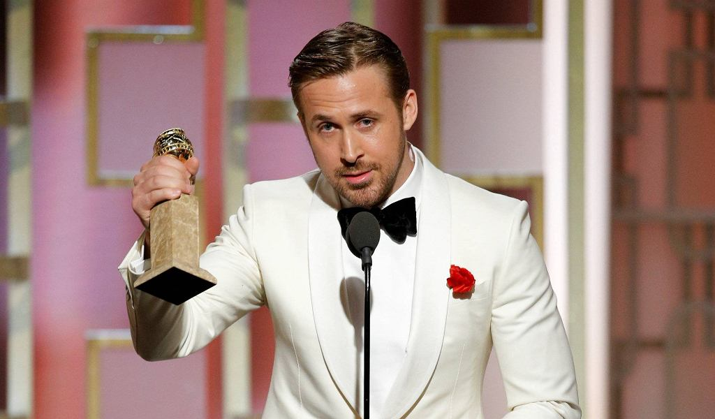 Actor Ryan Gosling holds his award for Best Actor, Motion Picture - Musical or Comedy for La La Land' during the 74th Annual Golden Globe Awards show in Beverly Hills