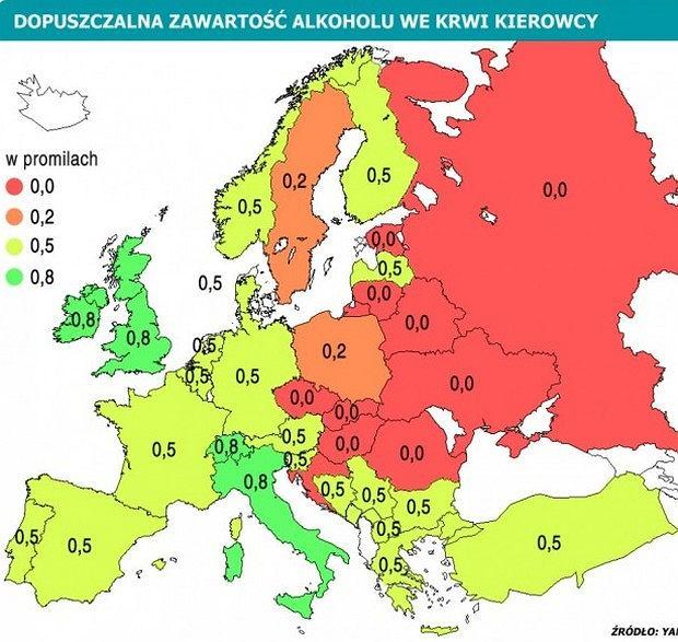 Dopuszczalne limity promili w Europie