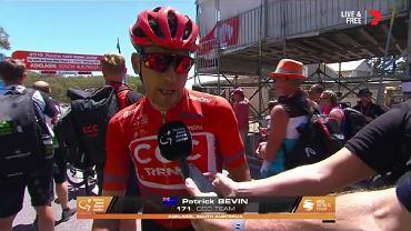 Rozczarowany Patrick Bevin, kolarz polskiej grupy CCC, po ostatnim etapie australijskiego Tour Down Under