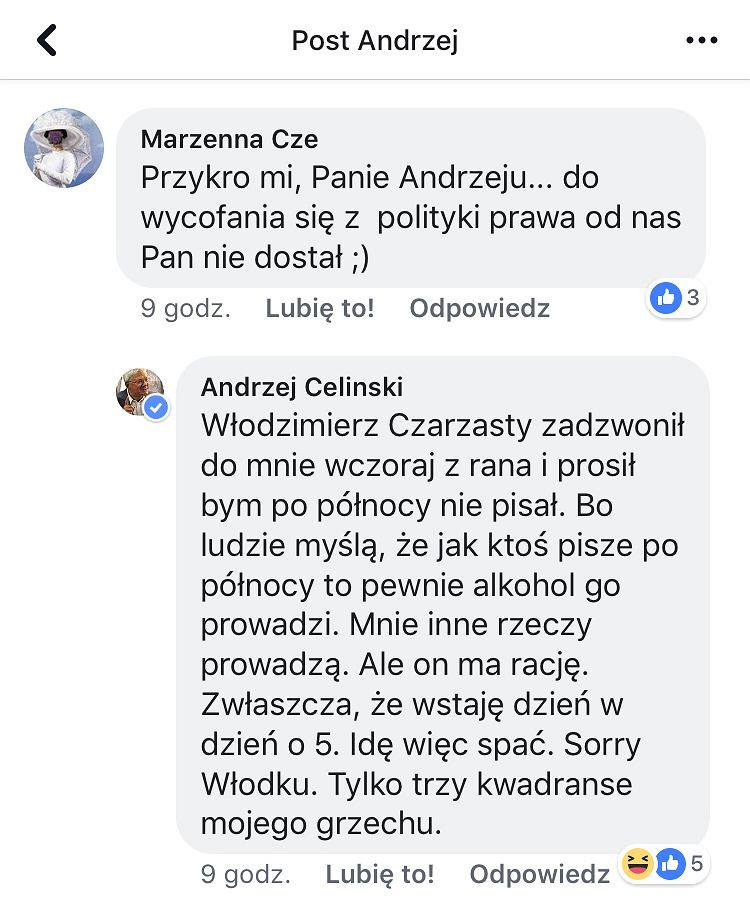 Andrzej Celiński zdradził, jaką prośbę - poza kandydowaniem na prezydenta Warszawy - miał do niego Włodzimierz Czarzasty.