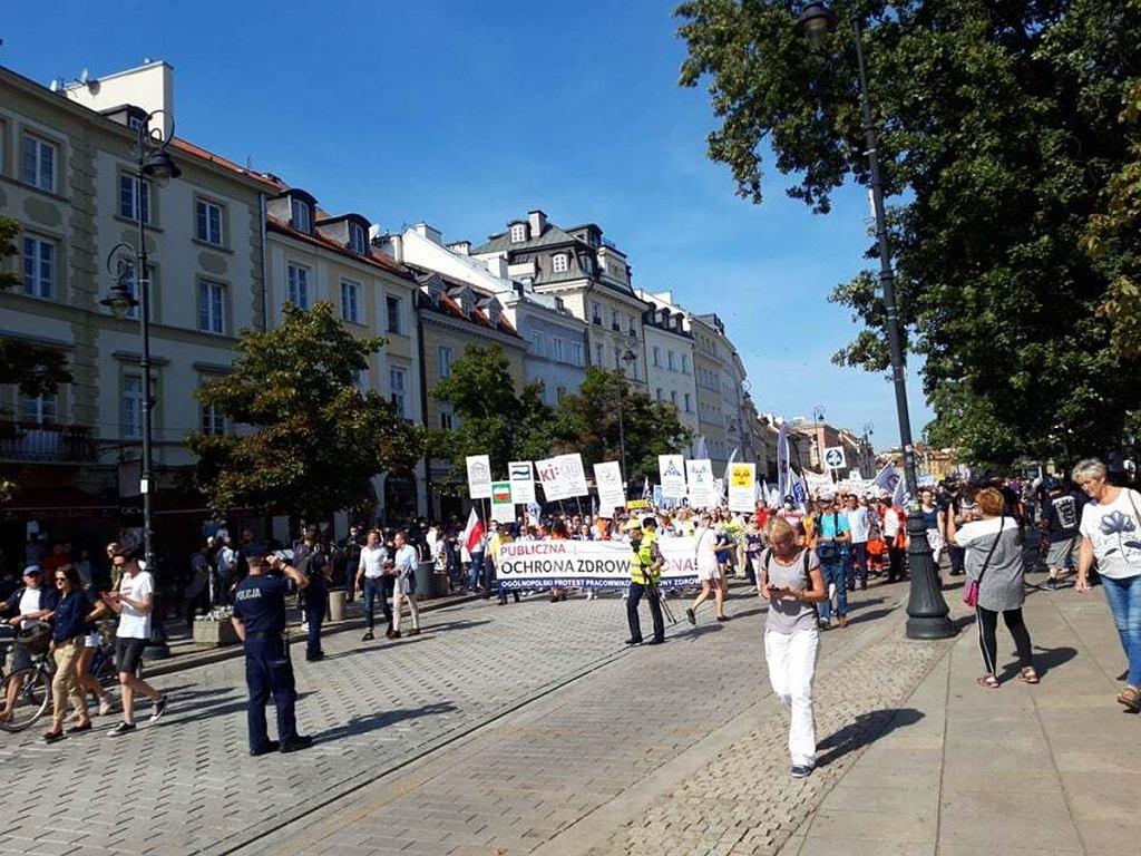 Protest medyków w Warszawie