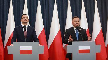 Premier Mateusz Morawiecki i prezydent Andrzej Duda.