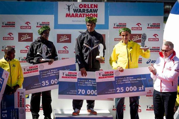 Pierwsi trzej mężczyźni w Orlen Warsaw Marathonie