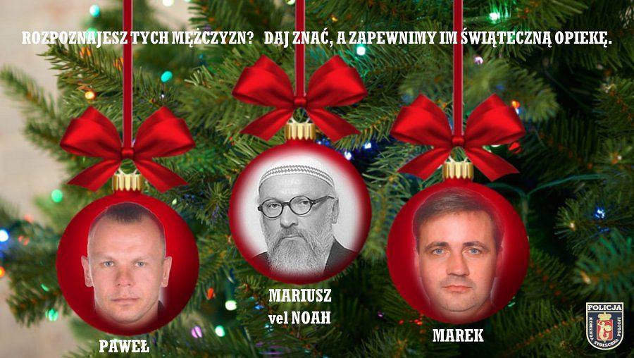 Policja zamieściła wizerunki poszukiwanych na bombkach/fot. KSP w Warszawie