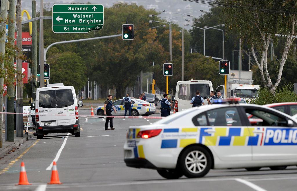 Policyjna Blokada w miejscowości Christchurch w Nowej Zelandii, gdzie doszło do ataku na dwa meczety