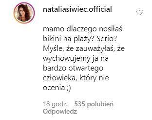 Komentarze na Instagramie Natalii Siwiec