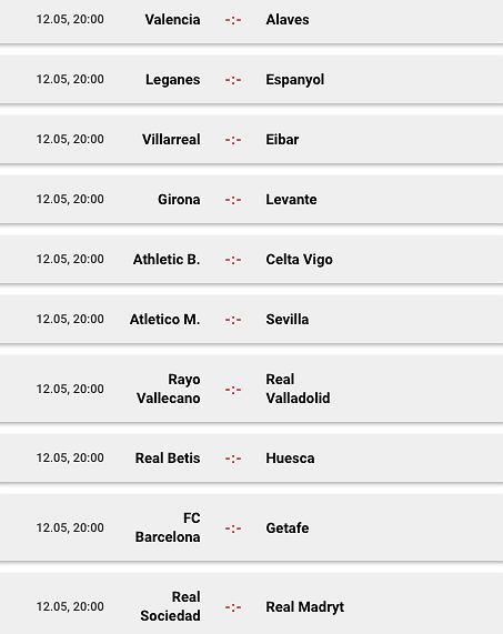 La Liga (mecze niedzielne)