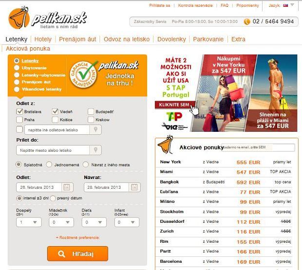 Pelikan.sk / print screen ze strony internetowej