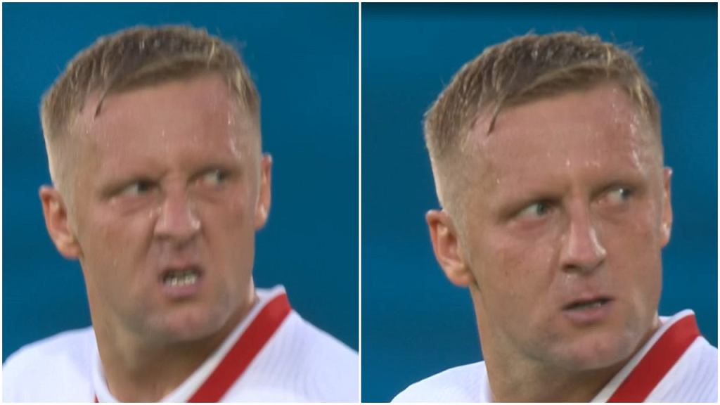 Kamil Glik wściekły w trakcie meczu z Hiszpanią na Euro 2020