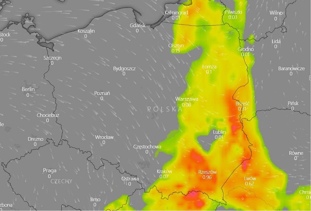 Mapa burzowa Polski - poniedziałek 2 września.