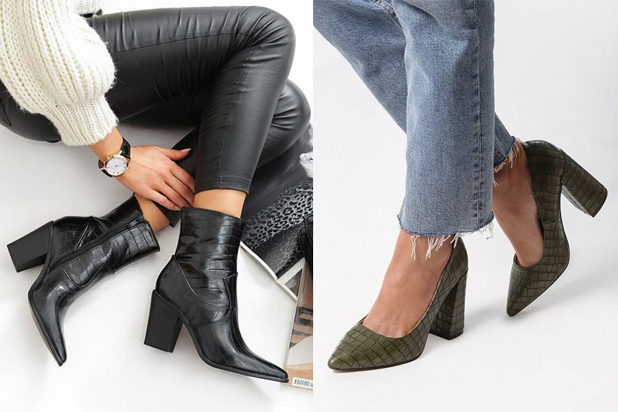 Buty z krokodylim wzorem