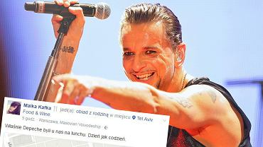 Dave Gahan podczas koncertu w Łodzi w 2014 r., wpis z Facebooka