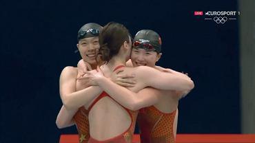 Sztafeta 4x200 stylem dowolnym; Chiny mistrzyniami olimpijskimi, pobity rekord świata. Źródło: Twitter