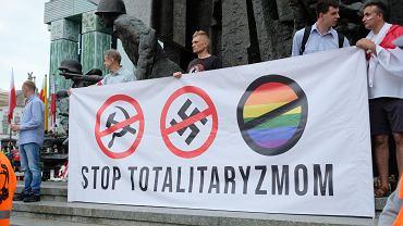 Wspomnienia o powstańcach przeplatane Trzaskowskim i zdejmowaniem flag UE