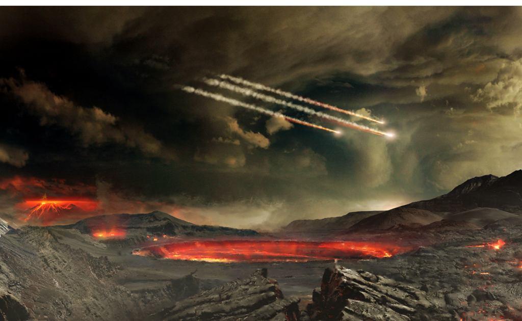 Artystyczna wizja meteorytów przynoszących na Ziemię cząsteczki wody i innych niezbędnych dla życia substancji /