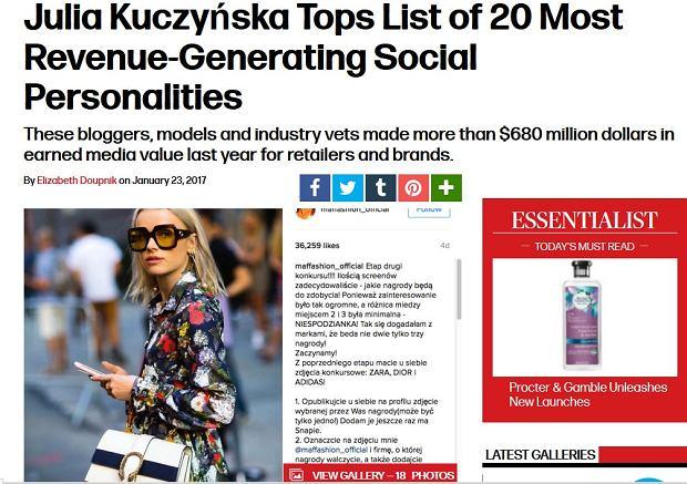 Maffashion (Julia Kuczyńska) zajęła pierwsze miejsce w rankingu blogerów generujących rekordowe zyski dla marek modowych i kosmetycznych