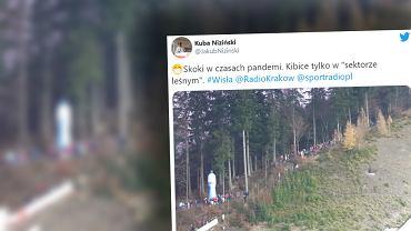 Na konkursie skoków w Wiśle polscy kibice nie przejmują się zasadami wprowadzonymi w związku z pandemią