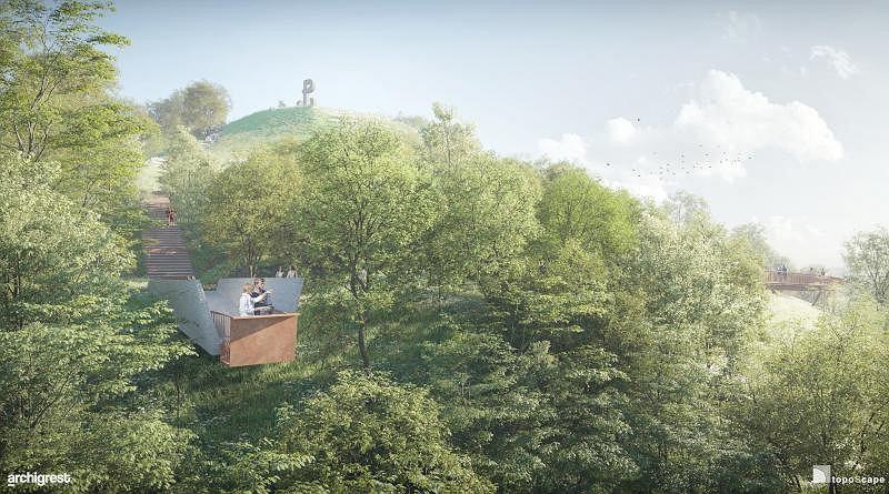 Wizualizacje parku pod Kopcem Powstania Warszawskiego