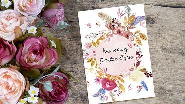 Kartka ślubna 'Boho wreath'