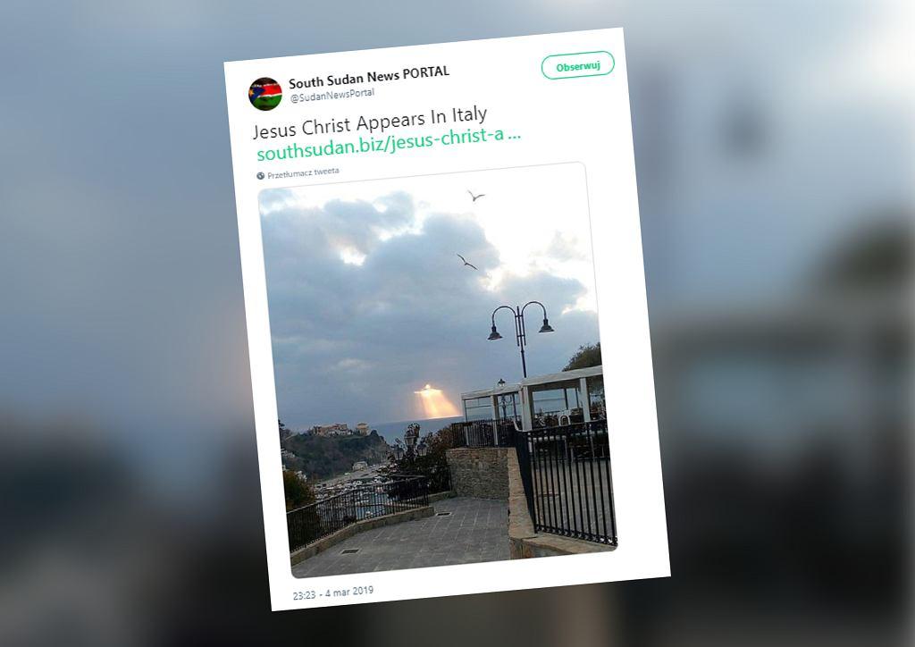 Włochy. W czasie zachodu słońca na niebie ukazał się Jezus?