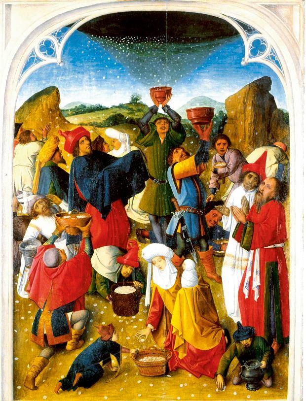 Chleb niebiański, czyli manna spadająca z nieba, była tak naprawdę wydzieliną tamaryszka bądź jagodą, obraz z XVI w. autor Mistrza Spadającej Manny (od nazwy obrazu)