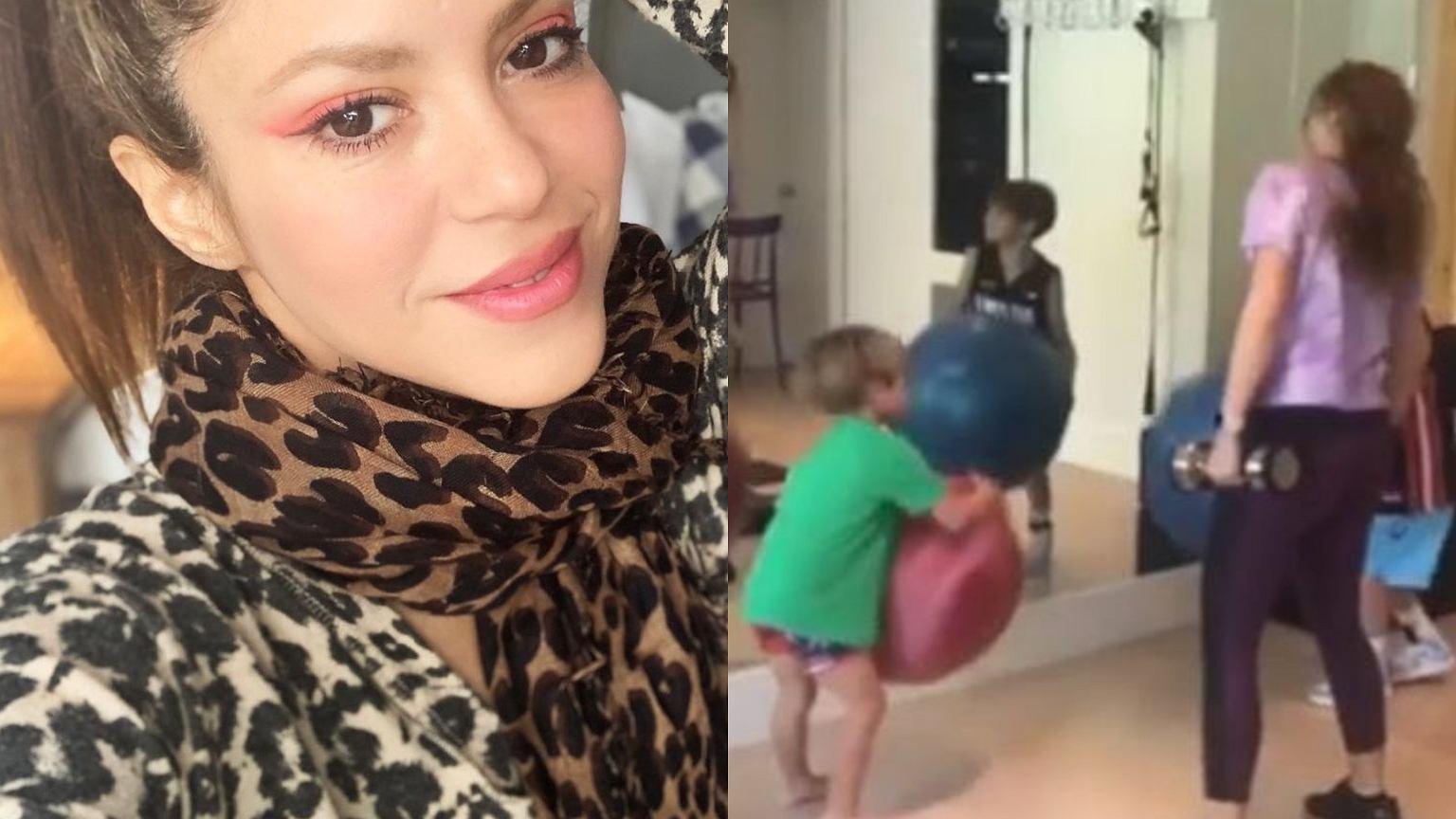 Shakira zabrała dzieci na siłownię. Sasha i Milan to stuprocentowe słodziaki, ale nie pomogli mamie w ćwiczeniach