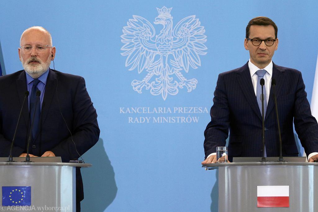 Wiceprzewodniczący Komisji Europejskiej Frans Timmermans, premier Mateusz Morawiecki