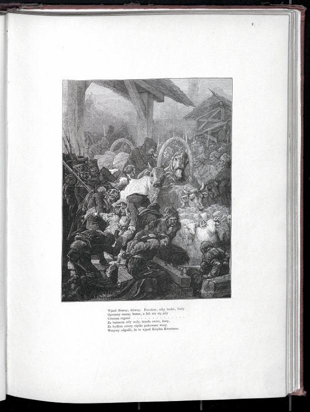 Ilustracja z 'Pana Tadeusza' z sernicą w tle (Michał E. Andrioli 1881 rok)