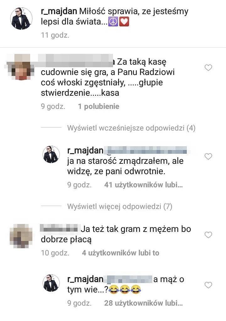 Radosław Majdan vs internautka na Instgramie