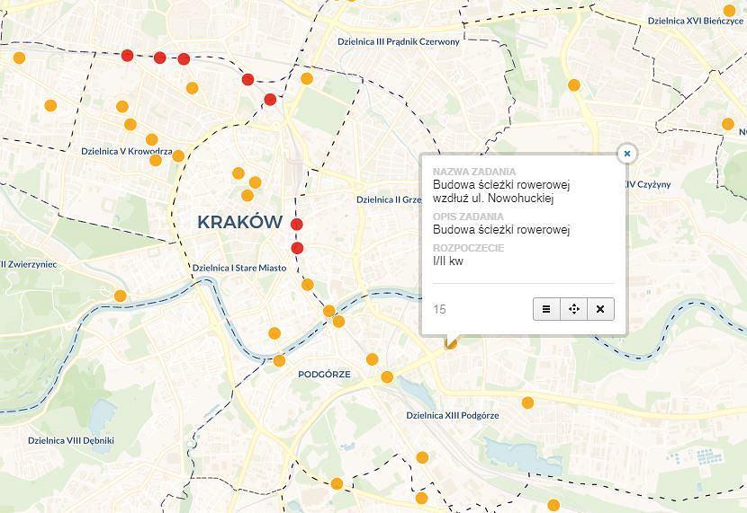 Powstanie Interaktywna Mapa Krakowskich Inwestycji