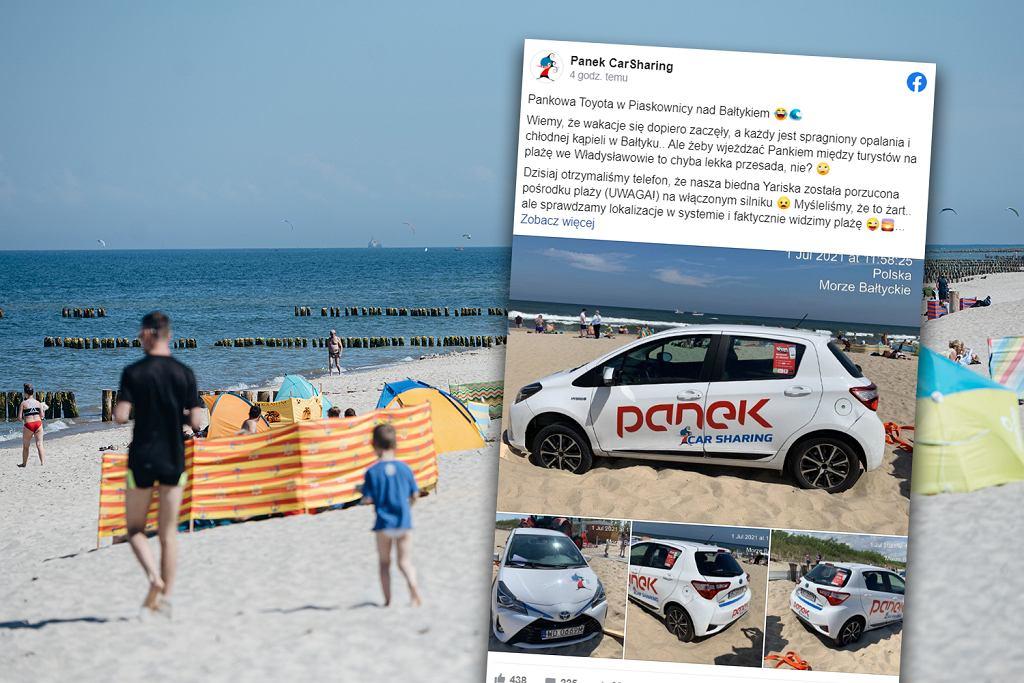 Władysławowo. Wjechał wynajętą toyotą na plażę. Auto utknęło w piasku, a kierowca uciekł. Zapomniał wyłączyć silnik