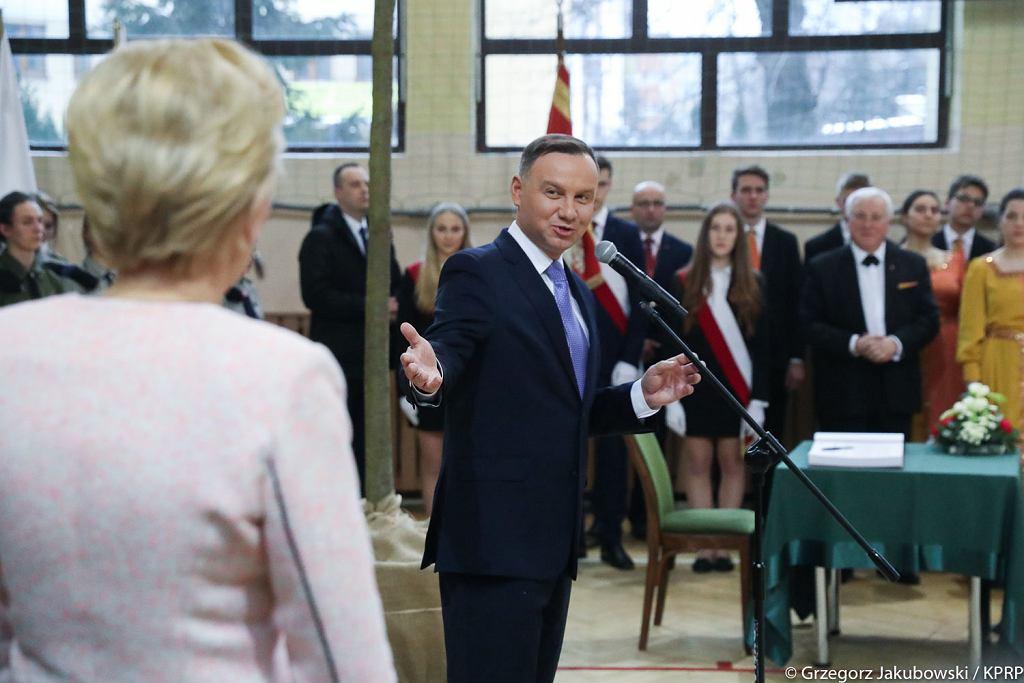 Spotkanie Pary Prezydenckiej z nauczycielami i uczniami I Liceum Ogólnokształcącego im. Jana Długosza w Nowym Sączu