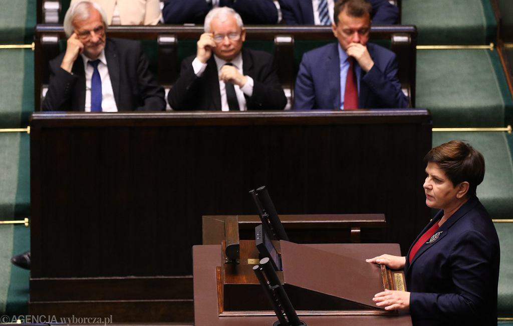 Posłowie podczas głosowania nad zmianami w programie 500 +. 45 Posiedzenie Sejmu VIII Kadencji. Warszawa, 7 lipca 2017
