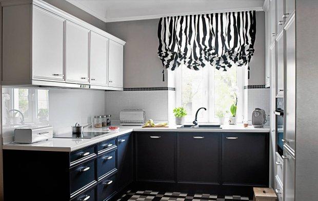 kuchnia, meble kuchenne, czarno-biała kuchnia
