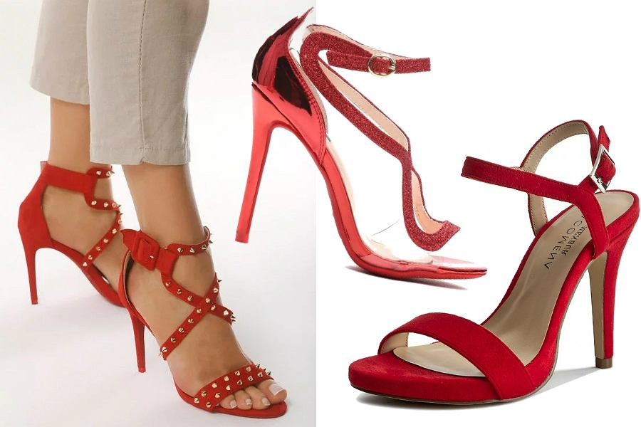 Czerwone sandały na szpilce