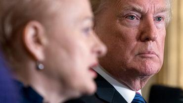 Prezydent USA Donald Trump (oraz prezydent Łotwy Raimonds Vejonis, prezydent Estonii Kersti Kaljulaid i prezydent Litwy Dalia Grybauskaite n/z) podczas wspólnej konferencji w Białym Domu. Waszyngton, 3 kwietnia 2018