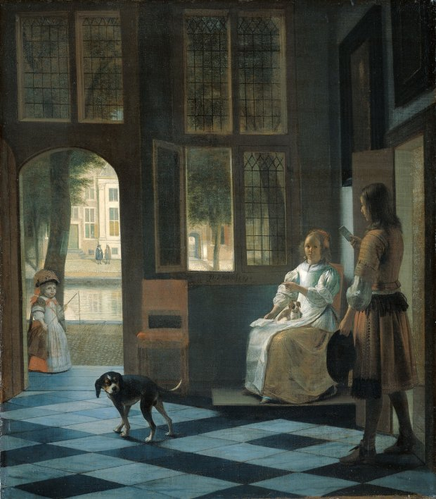Man Handing a Letter to a Woman in the Entrance Hall of a House,