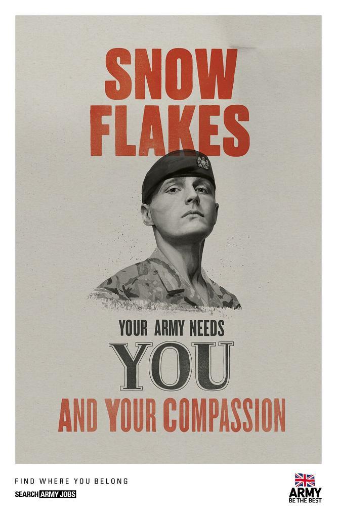 Żołnierz z tego plakatu obraził się za przypięcie mu łatki delikacika. Zadeklarował odejście ze służby