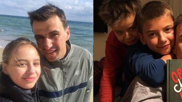 Jarosław Bieniuk i jego dzieci: Oliwia, Jan, Szymon