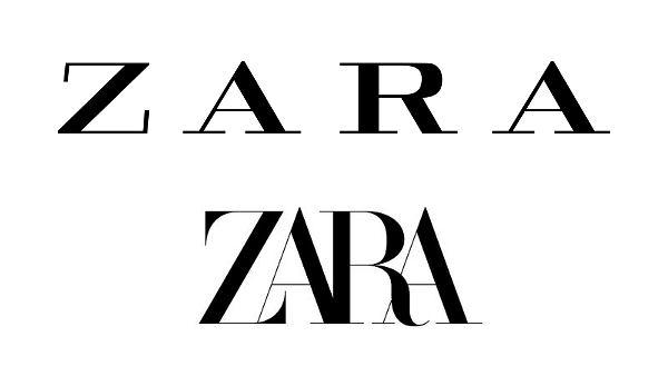 Zara. U góry stare, u dołu nowe logo