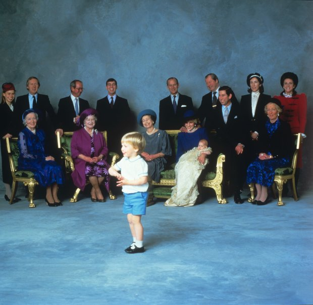 File photo dated 21/12/84 of the Duke of Cambridge after attending Prince Harrys christening, as Prince Georges outfit during the Queens official birthday celebrations today was the same one his father wore nearly 32 years ago.