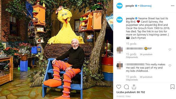 """Zmarł aktor, który grał Wielkiego Ptaka w """"Ulicy Sezamkowej"""""""