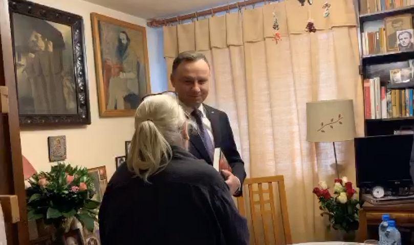 Andrzej Duda w odwiedzinach u Krystyny Barchańskiej